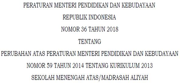 Bahwa untuk memenuhi kebutuhan dasar peserta didik dalam mengembangkan kemampuannya pada e Kerangka Dasar K13 SMA,MA Permendikbud Nomor 36 Tahun 2018