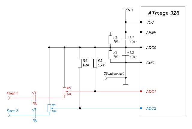 Схема подключения линии аудиосигнала к индикатору уровня звука.