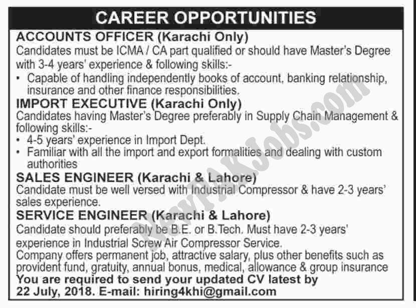 Private Jobs in Karachi & Lahore