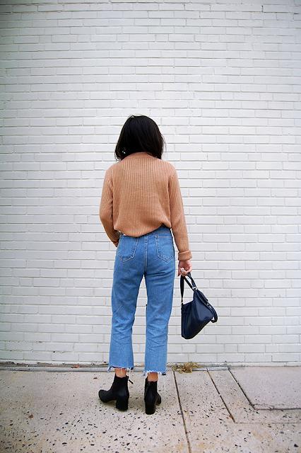 Tan Sweater Denim Jeans
