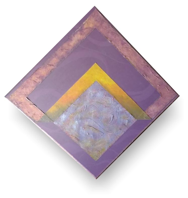 Quadro tipo poster, com textura no formato de losango com cores e formato com ideologia mística.