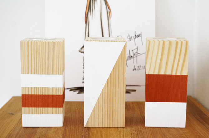Do-It-Yourself : bougeoirs en bois couleur blanc et cuivre