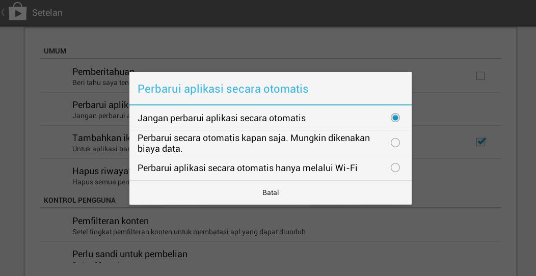 Nonaktifkan update aplikasi bluestack