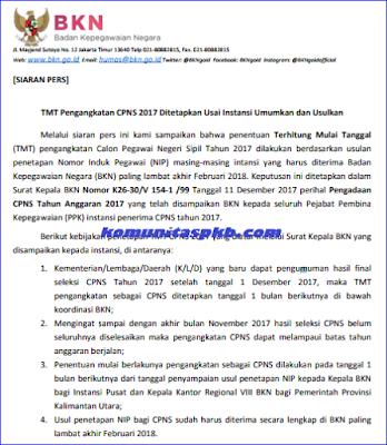 Inilah TMT Pengangkatan CPNS Tahun 2017