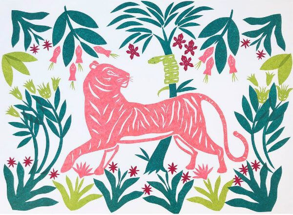 pink tissue paper hand cut tiger surrounded by leaves and flowers