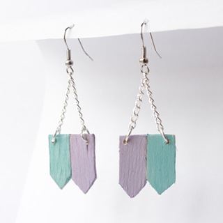 DIY upcycled popsicle stick earrings