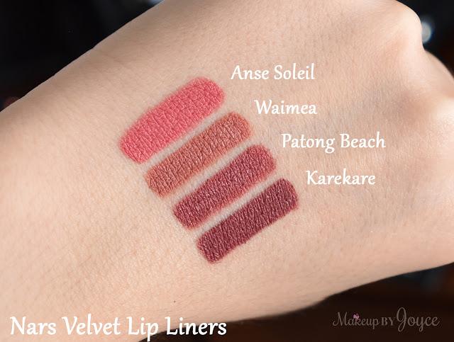 Nars Patong Beach Anse Soleil Waimea Karekare Velvet Lip Liners Swatch