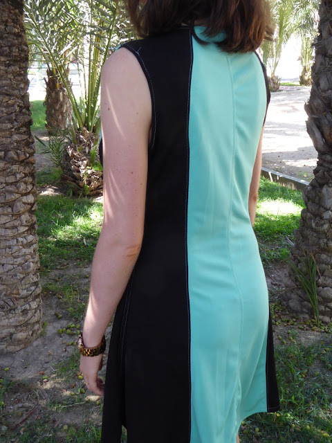 davie dress modistilla de pacotilla sewaholic hanmade crepe de punto mint and black rums