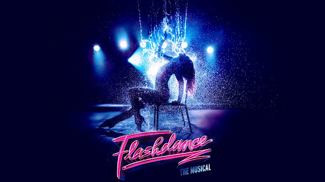 a poster for flashdance the musical with a dancer silhouetted on a chair and the title in neon pink lights