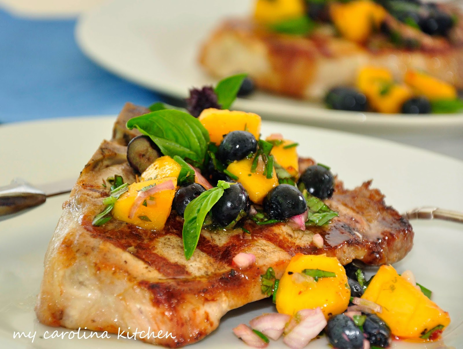 peachy blueberry salsa with grilled pork chops – to celebrate fresh ...