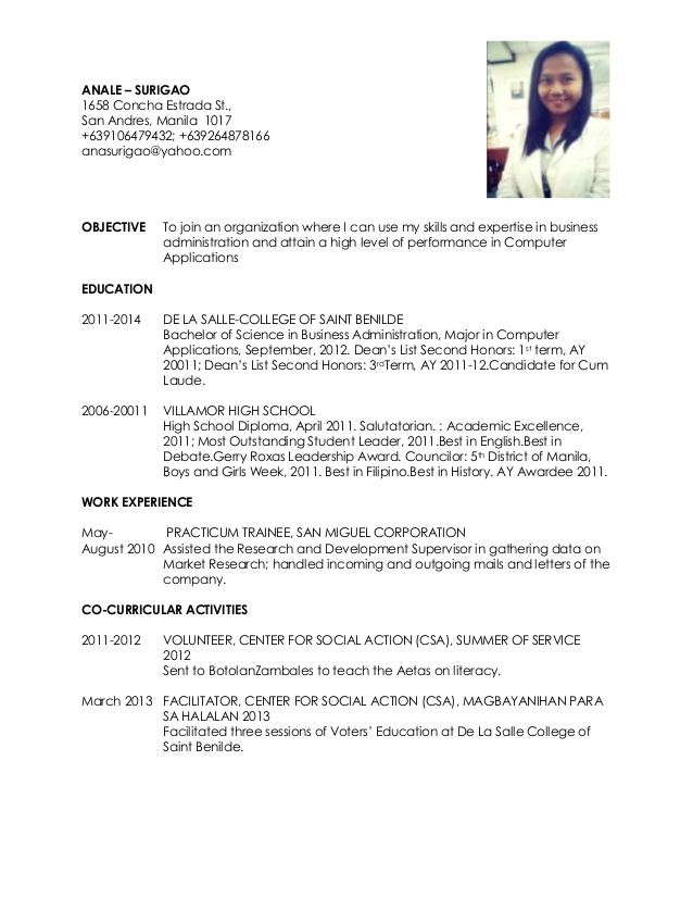 Curriculum Vitae Sample For Thesis Philippines