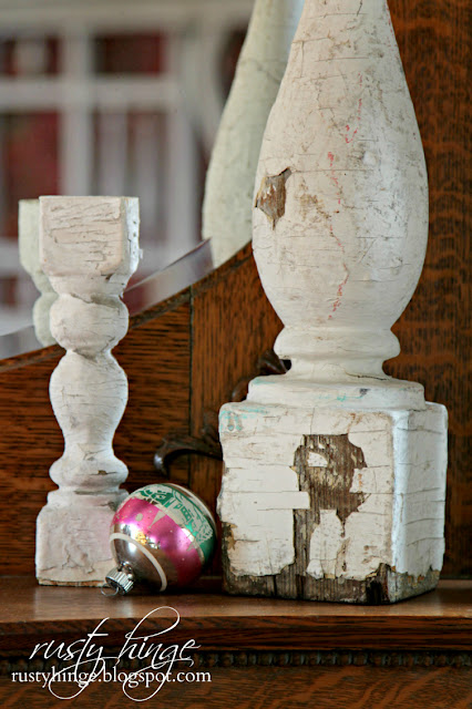 Architectural salvage with vintage Shiny Brite ornament