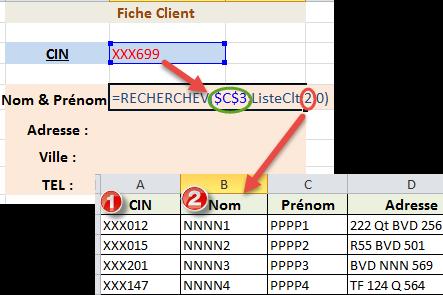 نموذج دالة البحث الرأسي RechercheV
