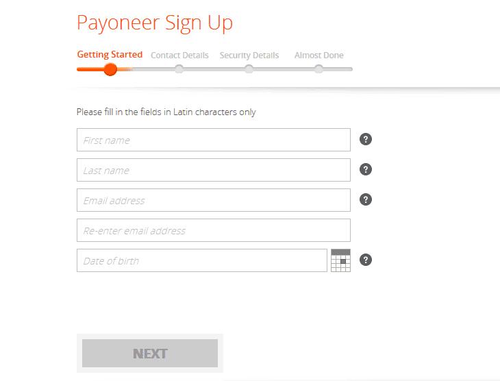 Payoneer signup form