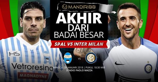 Prediksi SPAL 2013 Vs Inter Milan , Minggu 28 January 2018 Pukul 18.30 WIB