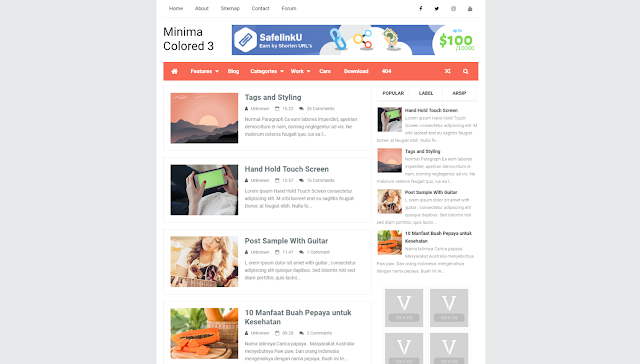 Minima Colored 3 2019 Responsive Blogger Template