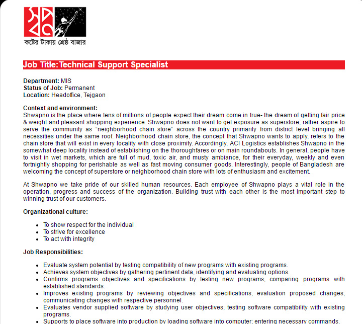 ACI Logistics Ltd - Technical Support Specialist - Job Opportunity