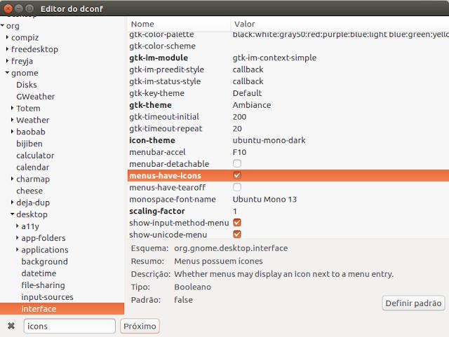 Como habilitar os ícones nos menus de contexto e botões no Ubuntu 16.04 LTS