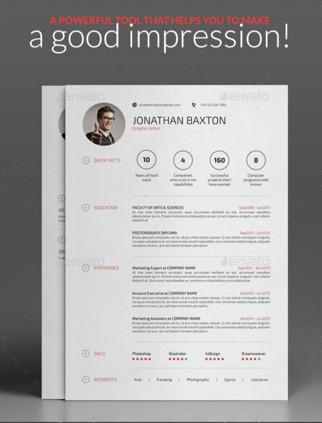 20 Resume CV Templates in Indesign Word PSD Download - Designsmag.org
