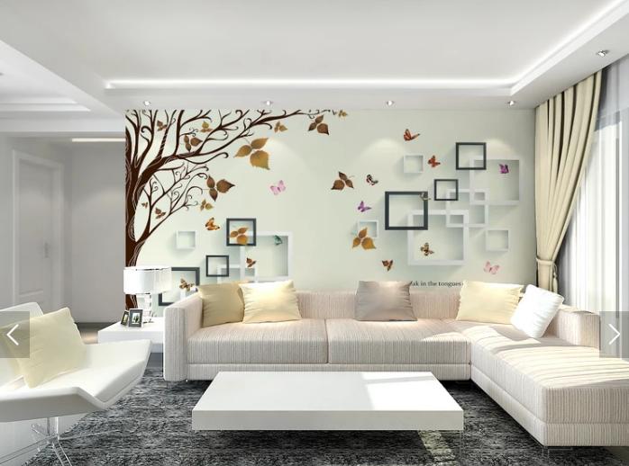 Tranh dán tường 3d cây và bướm