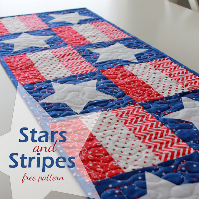 Stars and Stripes free PDF pattern for a quick and easy table runner