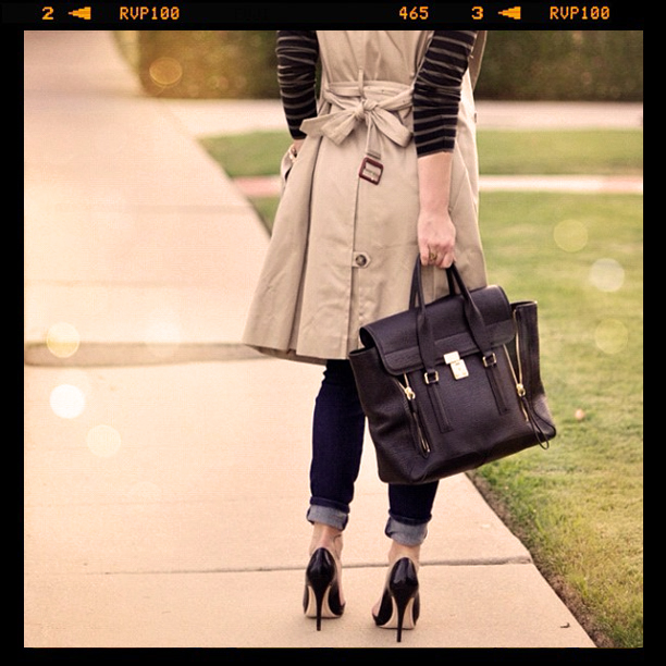fall outfit, fashion, phillip lim bag, sleeveless trench coat