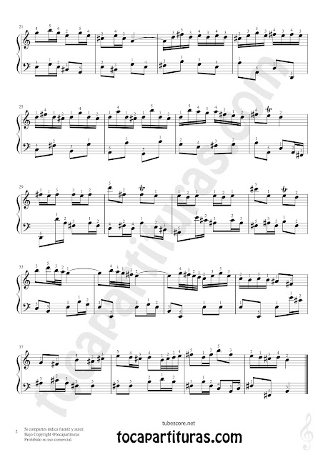 Badinerie Partitura de Piano en Si Menor Tono Original con Dedos (Digitación) Sheet Music for Piano in B minor