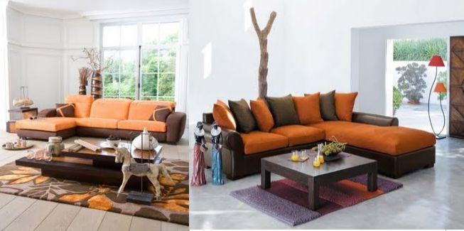 dcoration salon orange et marron