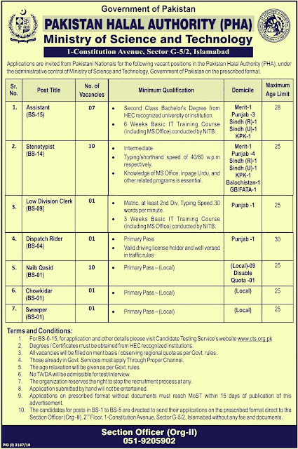 Pakistan Halal Authority (PHA) Jobs 2019 Ministry of Science & Technology