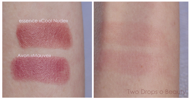 essence Cool Nude  VS  Avon Mad for Mauve помады, нюд
