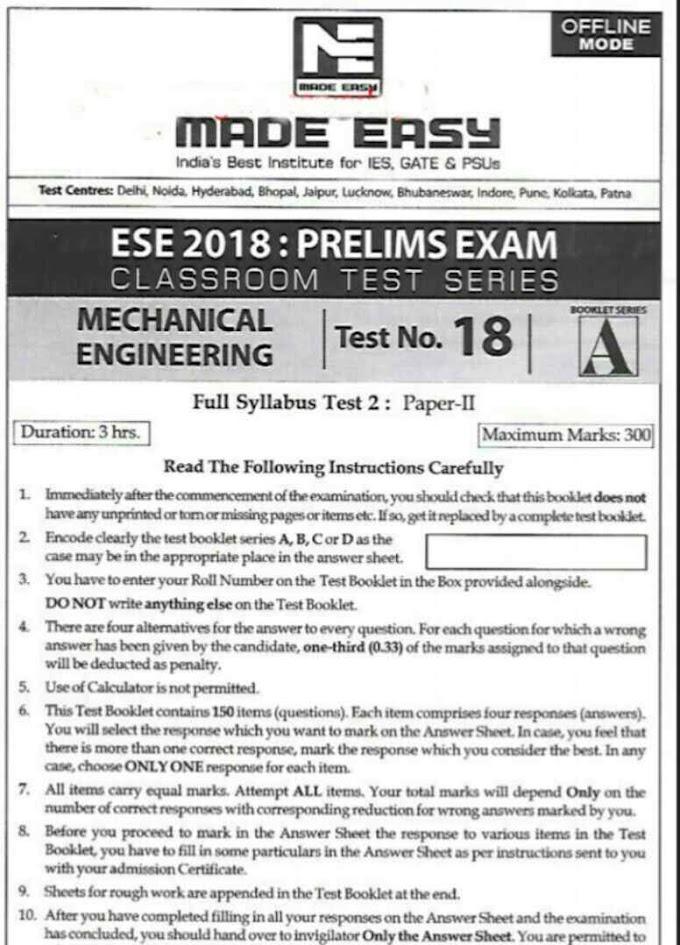 ESE 2018 MADE EASY OFFLINE TEST-18[MECHANICAL]