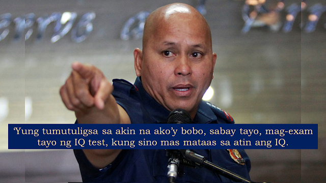 "After his controversial statement about looking for a seminar on how to be a senator, his post yielded negative comments from the netizen. Ronald ""Bato"" Dela Rosa is included among the top 12 newly elected senators of the republic.        Ads   After his controversial statement about looking for a seminar on how to be a senator, his post yielded negative comments from the netizen. Ronald ""Bato"" Dela Rosa is included among the top 12 newly elected senators of the republic. Dela Rosa has challenged detractors to take an IQ test with him and compare scores.    Dela Rosa, a Philippine Military Academy graduate and master's degree in the holder in public administration also with a doctorate in development administration, admitted that training on crafting laws is vital for him to do the duties of a senator.    Dela Rosa challenged those who say that he knows nothing in legislative works to an IQ test saying: ""The intelligence of an individual is measured by an IQ test. Those who criticized me for being stupid, let us take an IQ test together and see who has a higher IQ.""      Dela Rosa also said there is no point in acting smart just because one had become a senator and there is nothing wrong in being true to yourself and admitting that you have limitations.     He was the chief of Davao Police when President Rodrigo Duterte was the city's mayor. He was appointed as director general of the Philippine National Police when President Duterte took office.  Ads      Sponsored Links    Dela Rosa assures the people that he would not be dictated by Malacañang as he performs his duties as senator. Dela Rosa said he will work hard, would not sleep on his job and promised to make good laws that will be worthwhile for the Filipinos."