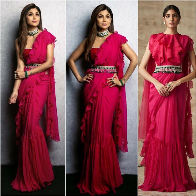 Shilpa Shetty in a Red Sari by Designer Ridhi Mehra
