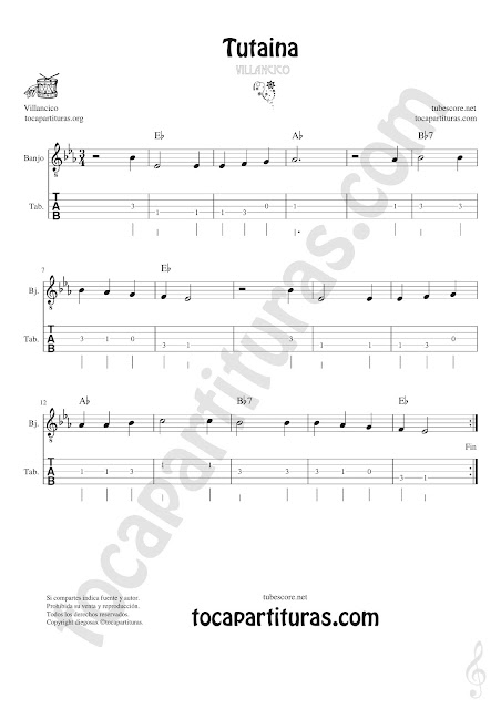Banjo Tablatura y Partitura Original de Tutaina Villancico Punteo Tablature Sheet Music for Banjo Tabs Music Scores Original Tab