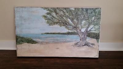weathered tree on beach painting