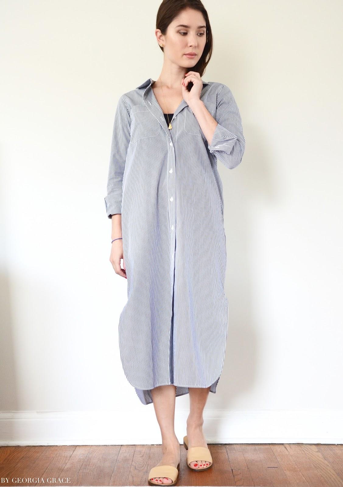 Everlane Striped Cotton Poplin Long Shirt Dress Review By