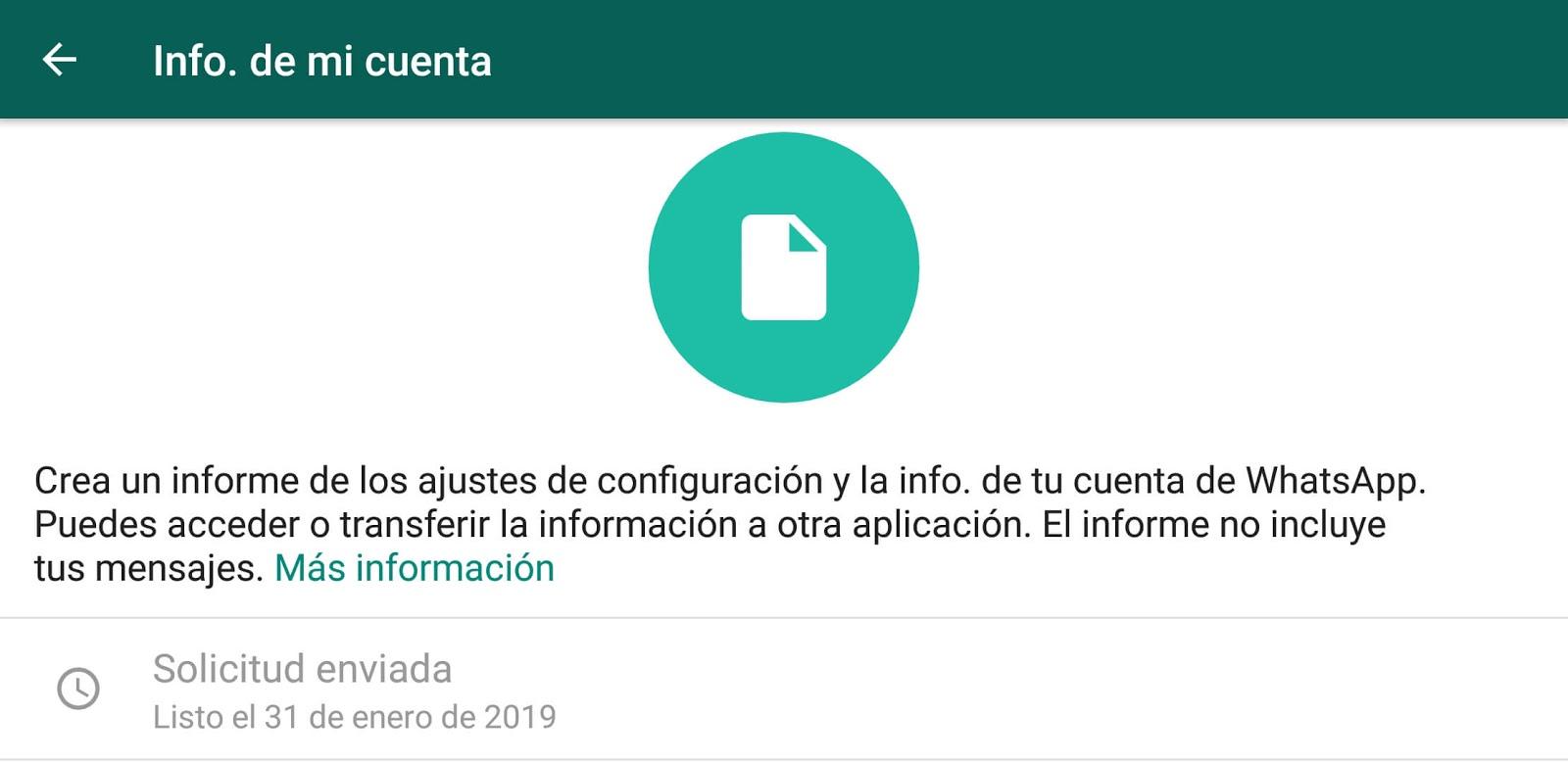 solicitar informacion de la cuenta de whatsapp