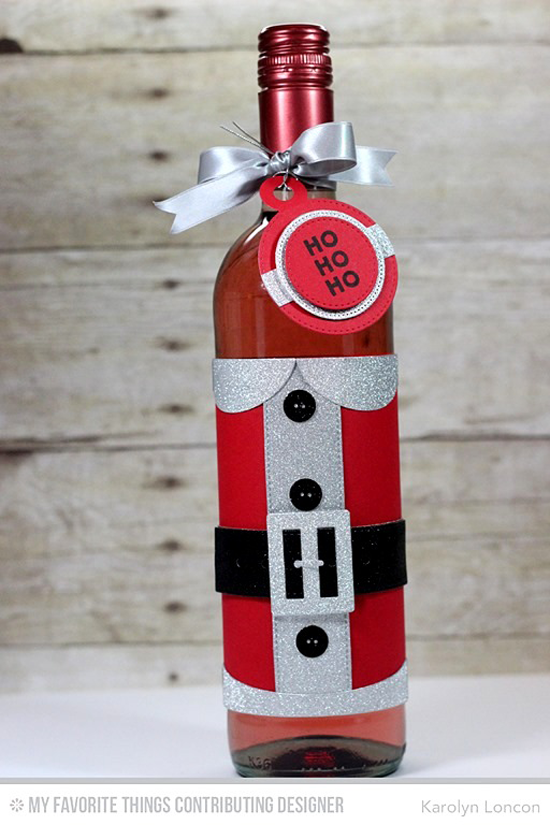 Handmade bottle wrap from Karolyn Loncon featuring Gift Card Greetings stamp set, Santa Suit and Tag Builder Blueprints 4 Die-namics #mftstamps