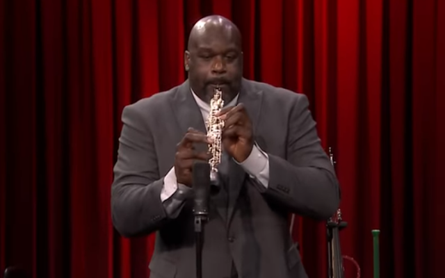 Shaquille ONeal plays oboe in Random Instrument Challenge on Tonight Show 1/6/2020