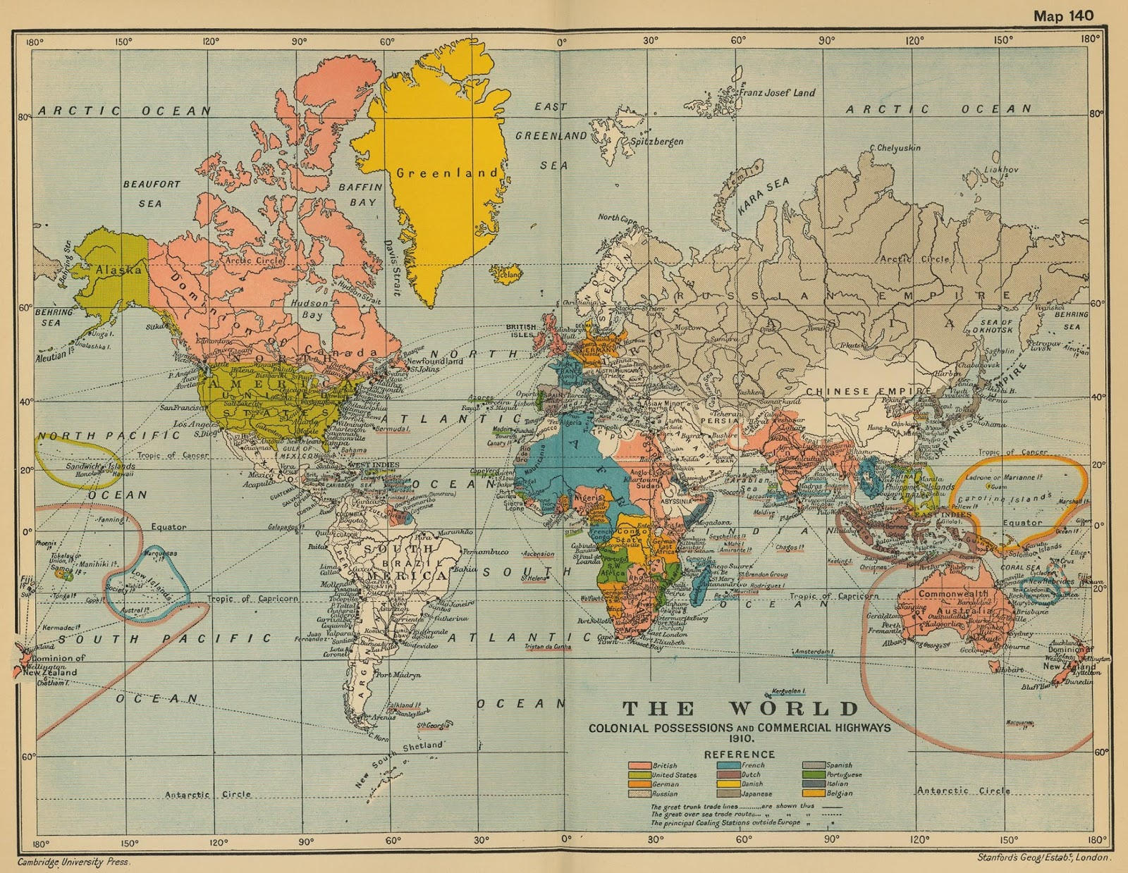 A 1910 world map