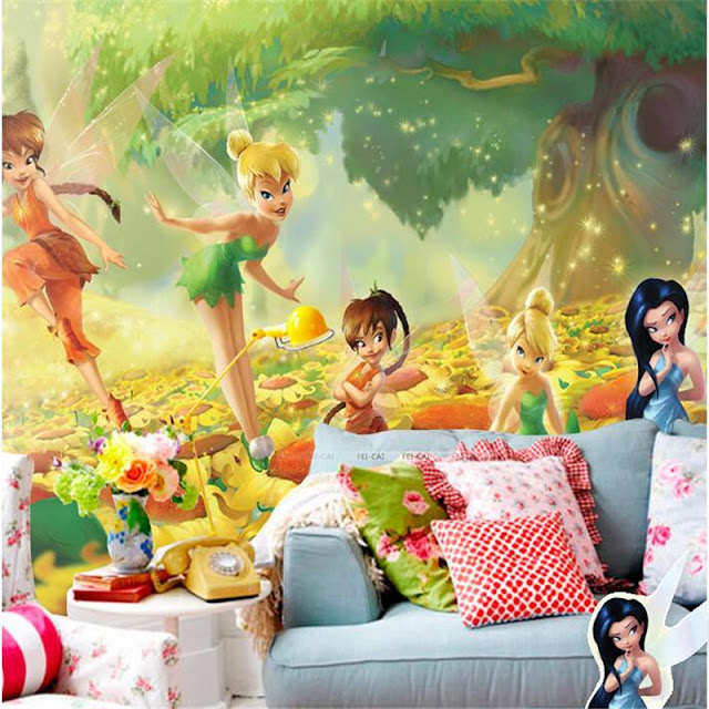 Fairy Murals Wallpaper Tinkerbell Girls Kid Childrens Room