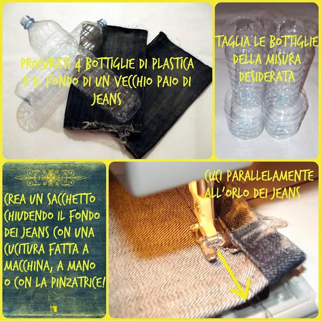 Riciclare vecchi jeans e bottiglie di plastica