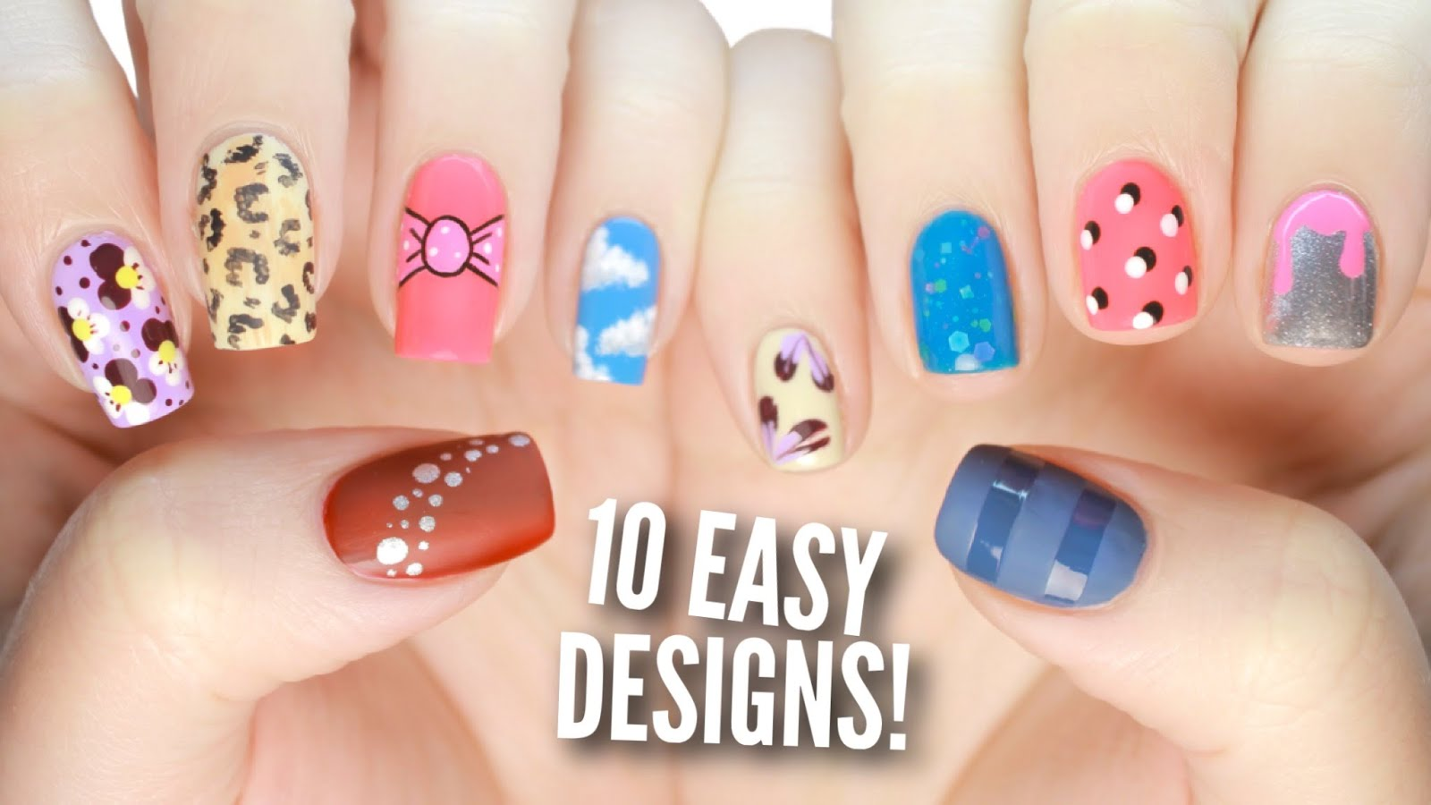 10 Easy Nail Art Designs for Beginners- Tutorial Part 2