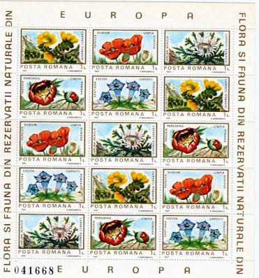 Timbre. Colita flori diverse
