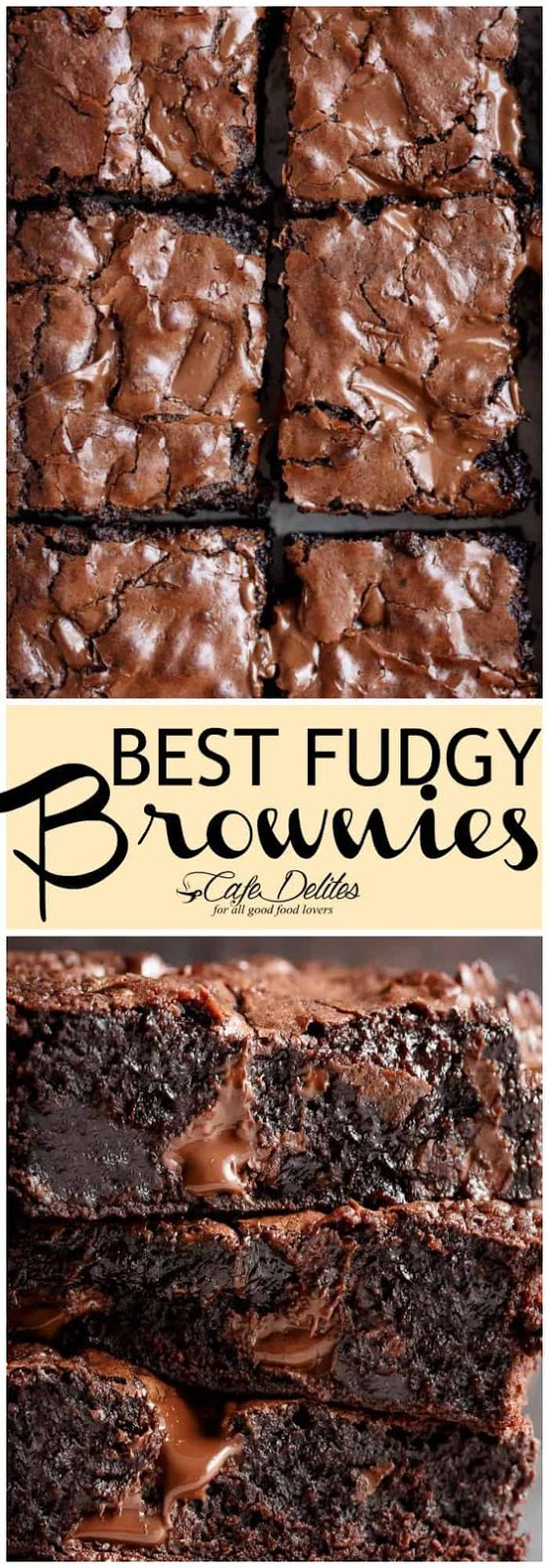 The Best, Fudgy ONE BOWL Cocoa Brownies! A special addition gives these brownies a super fudgy centre without losing that crispy, crackly top!FOR THICKER DOUBLE BATCH BROWNIES