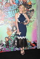 Leven Rambin in a floor-length blue dress at Suicide Squad Premiere in New York