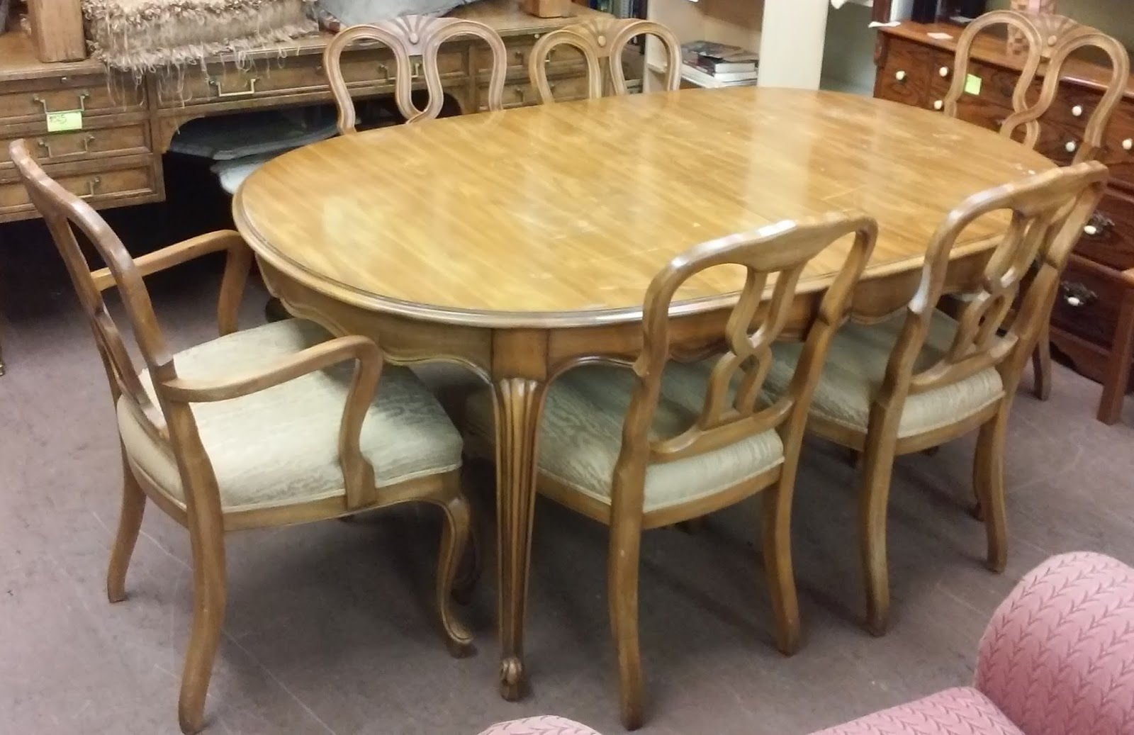 SOLD John Widdicomb Dining Set Table 2 Leaves 6 Chairs
