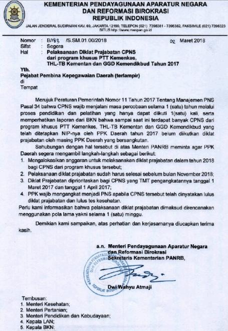 Edaran Pelaksanaan Diklat Prajabatan CPNS GGD