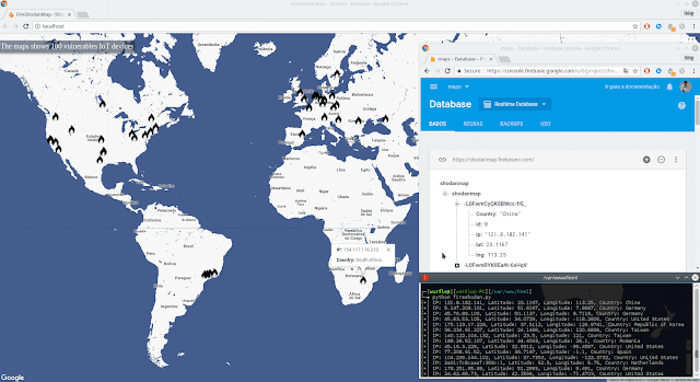 FireShodanMap: Realtime Map that integrates Firebase, Google Maps and Shodan