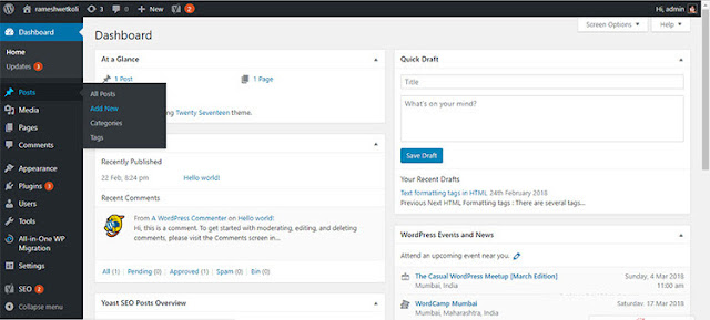 WordPress - Create a new post
